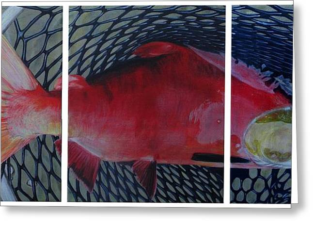 Salmon Paintings Greeting Cards - Caught Greeting Card by Karen  Peterson