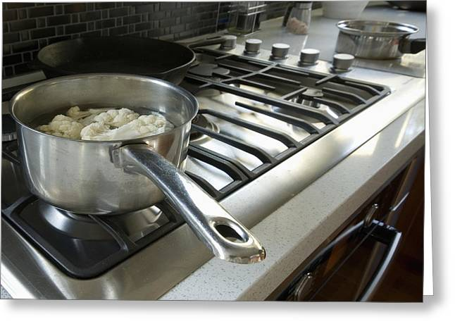 Boiling Greeting Cards - Cauliflower Cooking on the Stove Greeting Card by Marlene Ford