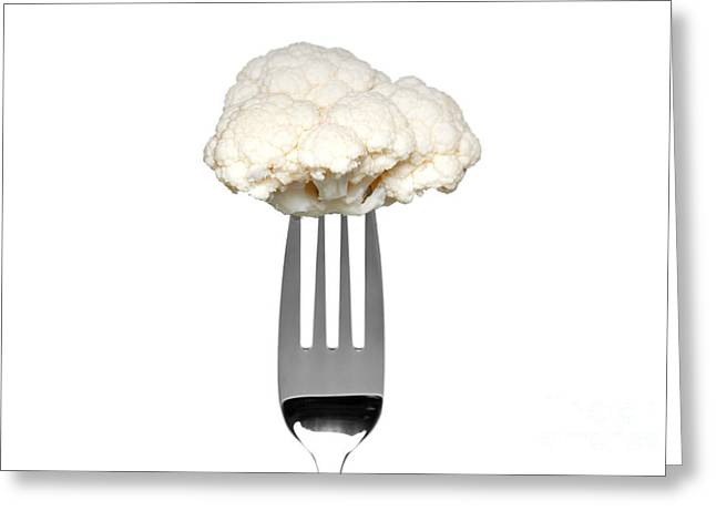 Cauliflower Greeting Cards - Cauliflower on a fork isolated on white Greeting Card by Richard Thomas
