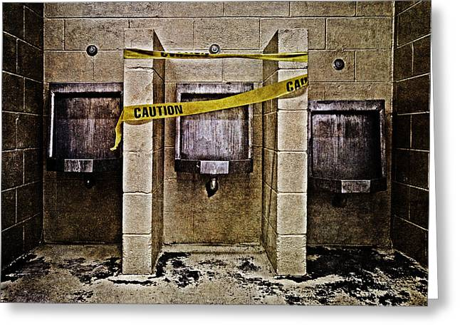 Urinal Greeting Cards - Caution Greeting Card by Skip Nall