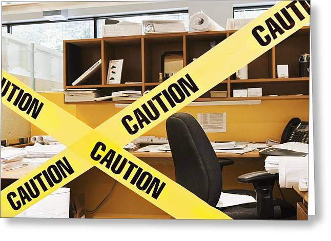 Office Cubicle Greeting Cards - Caution Tape Blocking a Cubicle Entrance Greeting Card by Jetta Productions, Inc