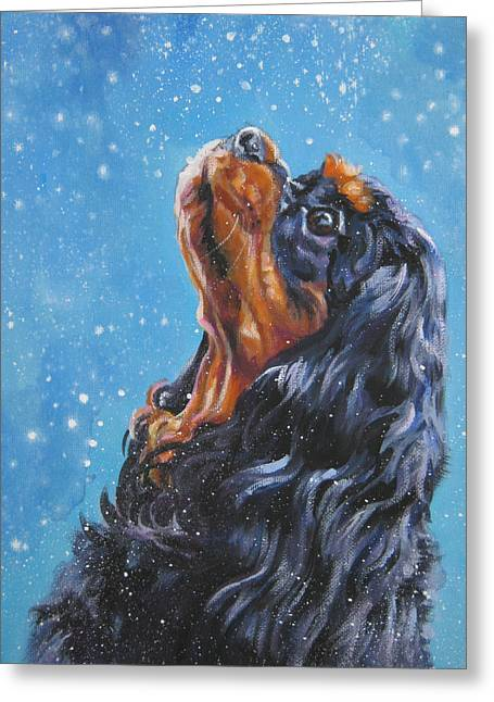 Spaniel Greeting Cards - Cavalier King Charles Spaniel black and tan in snow Greeting Card by Lee Ann Shepard