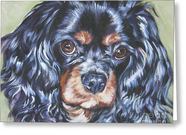 Spaniel Greeting Cards - Cavalier King Charles Spaniel black and tan Greeting Card by Lee Ann Shepard