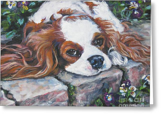Pansy Greeting Cards - Cavalier King Charles Spaniel in the pansies  Greeting Card by Lee Ann Shepard