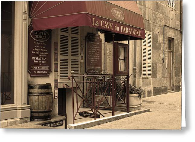 Wine Scene Greeting Cards - Cave du Paradoxe Wine Shop in Beaune France Greeting Card by Greg Matchick