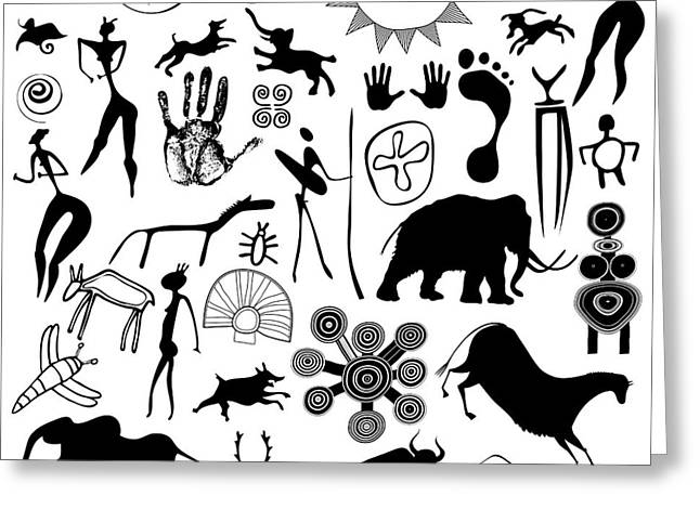 Aboriginal Mixed Media Greeting Cards - Cave Painting - Primitive Art Greeting Card by Michal Boubin