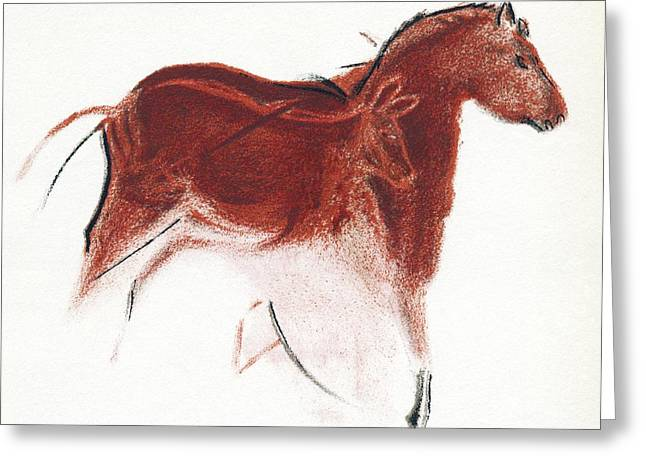 Upper Paleolithic Greeting Cards - Cave Painting Of Horse And Hind, Artwork Greeting Card by Sheila Terry