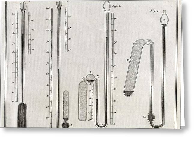 Royal Society Of London Greeting Cards - Cavendish Thermometers, 18th Century Greeting Card by Middle Temple Library