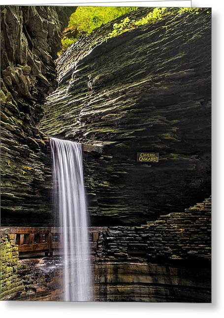 Watkins Glen Greeting Cards - Cavern Cascade Greeting Card by Mark Papke