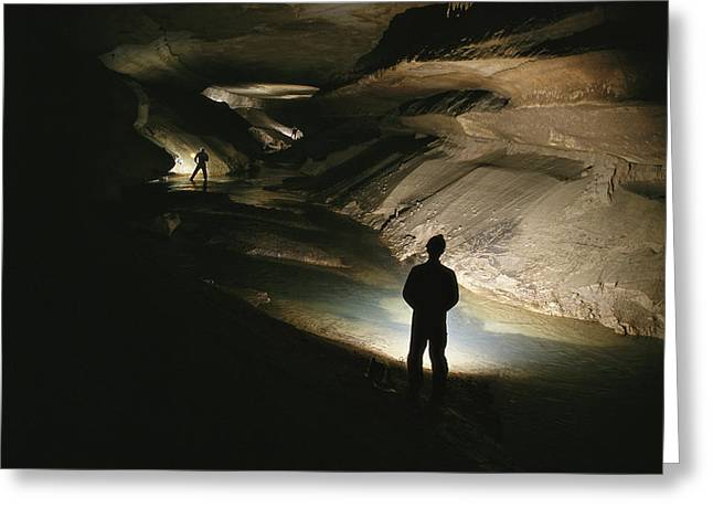 Cavers Stand In The New Discover Greeting Card by Stephen Alvarez