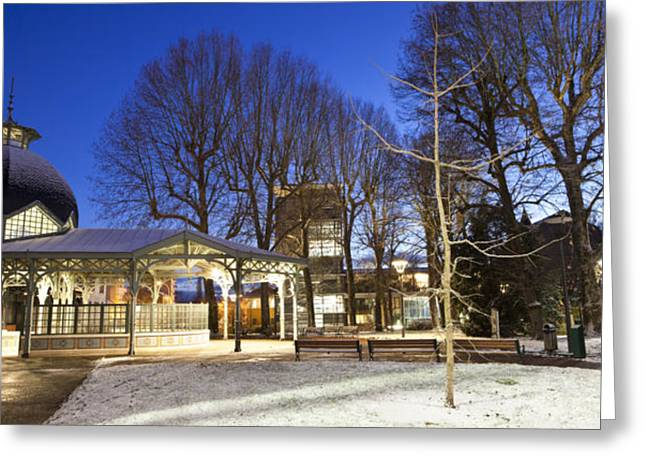 Vichy Greeting Cards - Cavilam cafeteria at night Greeting Card by Alexander Davydov
