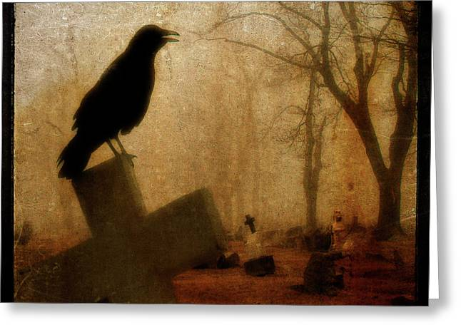 Birds In Graveyard Greeting Cards - Cawing Night Crow Greeting Card by Gothicolors Donna Snyder