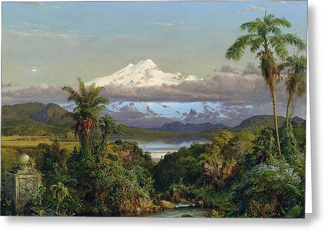 Mountainous Greeting Cards - Cayambe Greeting Card by Frederic Edwin Church