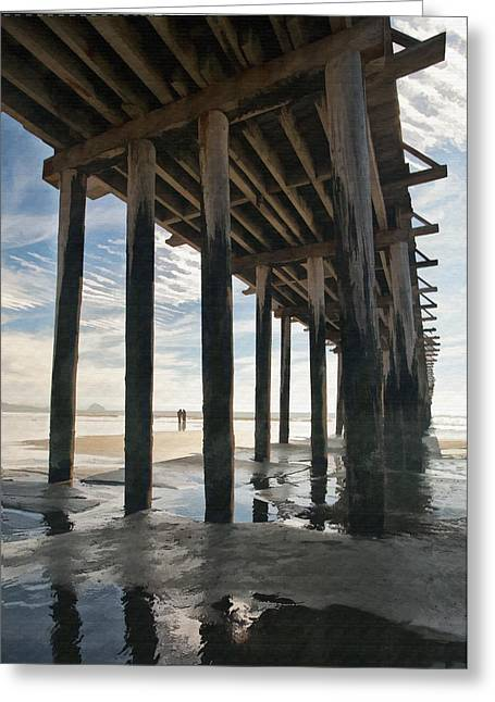 Ocean. Reflection Digital Art Greeting Cards - Cayucos Pier II Greeting Card by Sharon Foster