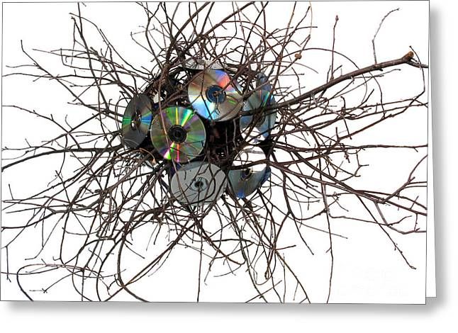 Sculpture Mixed Media Greeting Cards - CD Virus Greeting Card by Adam Long