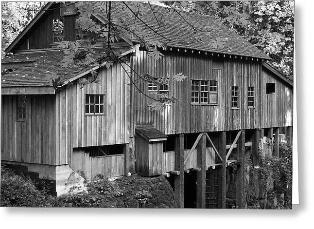 Neurotic Images Photography Greeting Cards - Cedar Creek Grist Mill BW 2 Greeting Card by Chalet Roome-Rigdon
