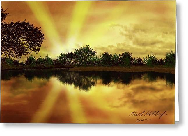 Holdorf Greeting Cards - Cedar Creek Sunset Greeting Card by Kurt Holdorf