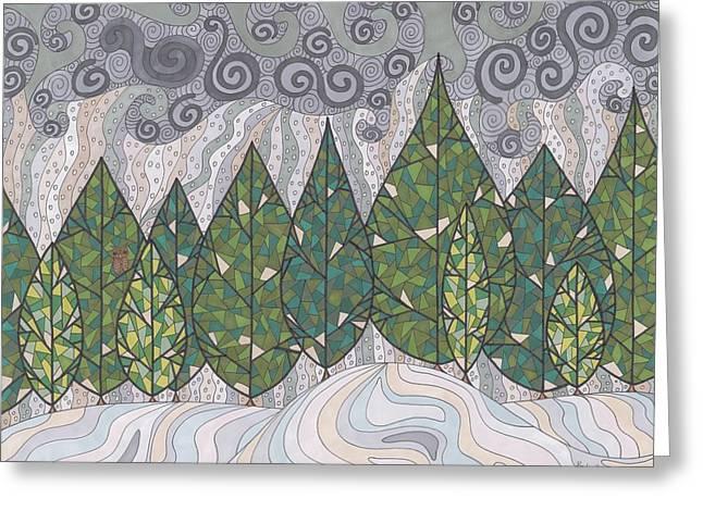 Snowstorm Drawings Greeting Cards - Cedar Grove Greeting Card by Pamela Schiermeyer