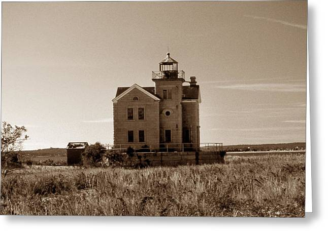 Cedar Island Lighthouse Greeting Card by Skip Willits
