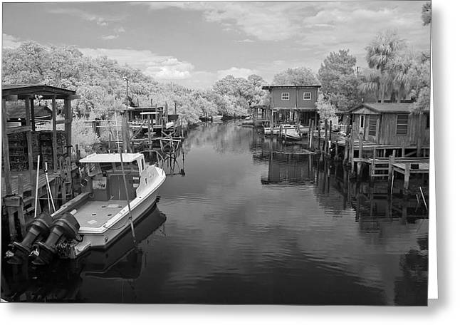 Cedar Key Greeting Cards - Cedar Key Canal Greeting Card by Les Griffith
