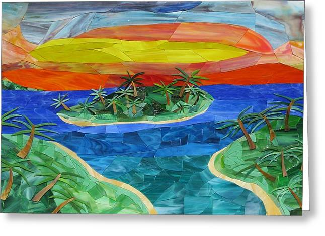 Sunset Glass Art Greeting Cards - Cedar Key Sunset Greeting Card by Charles McDonell