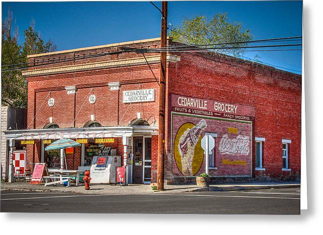 Surprise Greeting Cards - Cedarville California Grocery Store Greeting Card by Scott McGuire