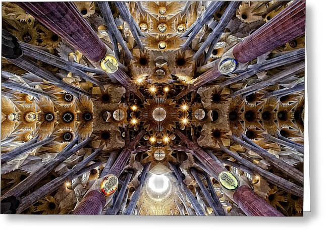 Meds Greeting Cards - Ceiling at Sagrada Familia Greeting Card by Lynn Andrews