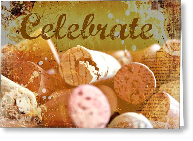 Party Invitations Greeting Cards - Celebrate Greeting Card by Cathie Tyler