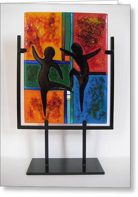 Figures Glass Art Greeting Cards - Celebrate The Possibilities Greeting Card by Mark Lubich