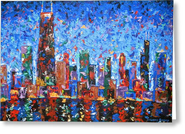 City Lights Paintings Greeting Cards - Celebration City Greeting Card by J Loren Reedy