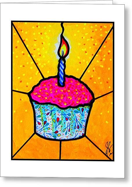 Festivities Paintings Greeting Cards - Celebration Cupcake Greeting Card by Jim Harris