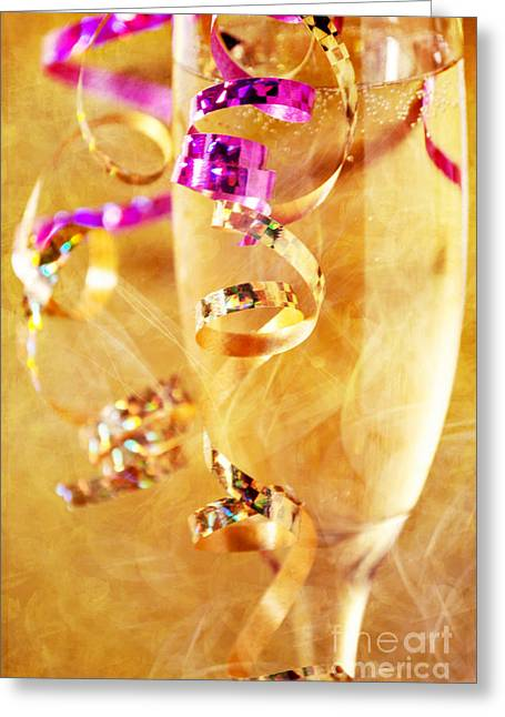 Champagne Glasses Greeting Cards - Celebration Greeting Card by HD Connelly