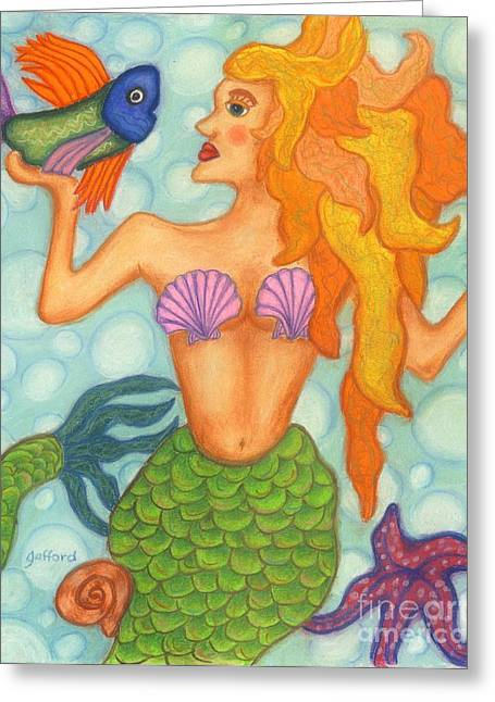 Fish Jewelry Greeting Cards - Celeste the Mermaid Greeting Card by Norma Gafford