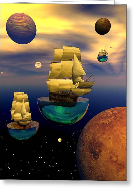 Tall Ship Greeting Cards - Celestial armada Greeting Card by Claude McCoy
