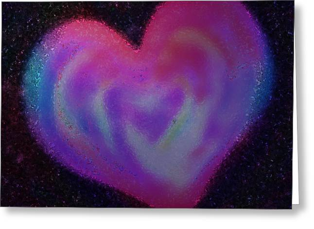 Recently Sold -  - Abstract Digital Pastels Greeting Cards - Celestial Heart Greeting Card by Gina Barkley