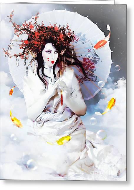 Cherry Blossoms Digital Art Greeting Cards - Celestial Koi Geisha Greeting Card by Shanina Conway