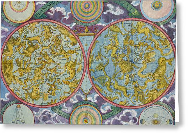 Coloured Greeting Cards - Celestial Map of the Planets Greeting Card by Georg Christoph Eimmart