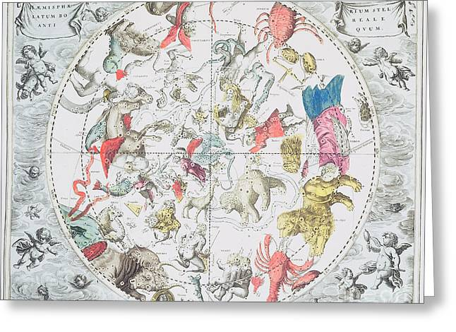 Celestial Planisphere Showing the Signs of the Zodiac Greeting Card by Andreas Cellarius