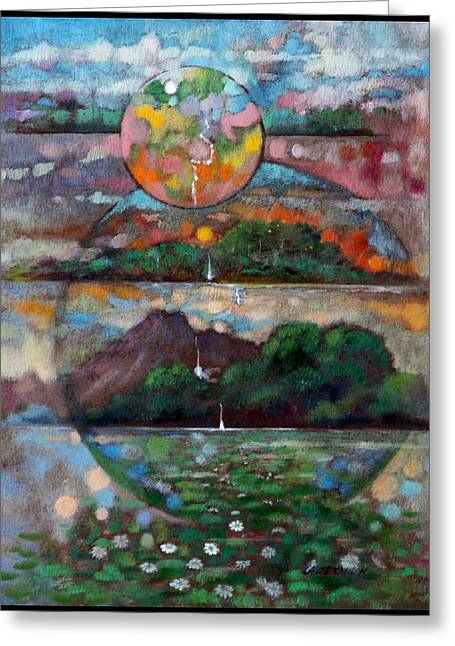 Planet Earth Greeting Cards - Celestial Spheres Greeting Card by John Lautermilch