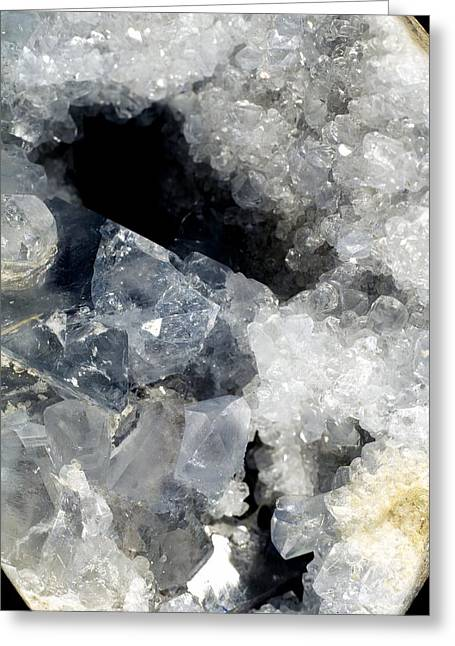 Science Greeting Cards - Celestine Crystals Greeting Card by Dirk Wiersma