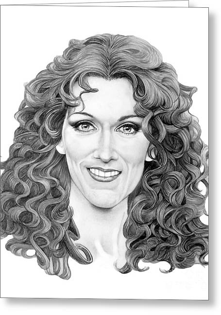 Pencil Drawing Greeting Cards - Celine Dion Greeting Card by Murphy Elliott