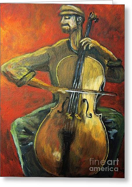 Cellist Greeting Cards - Cello Greeting Card by Reb Frost