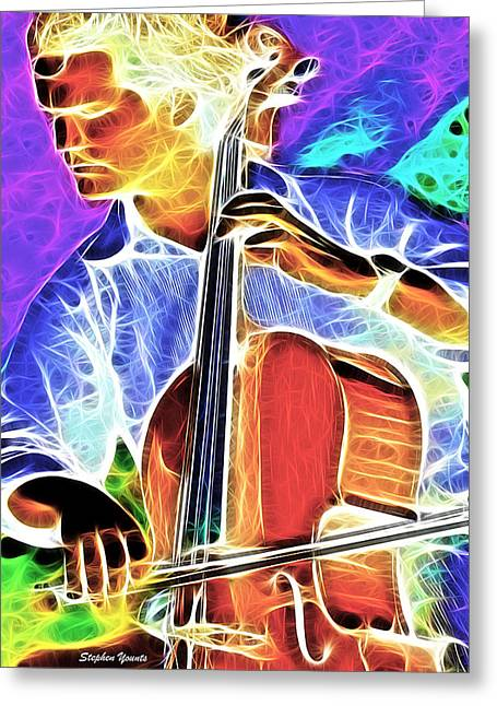 Playing Musical Instruments Mixed Media Greeting Cards - Cello Greeting Card by Stephen Younts