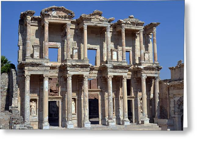 Ephesus Greeting Cards - Celsius Library Greeting Card by Terence Davis