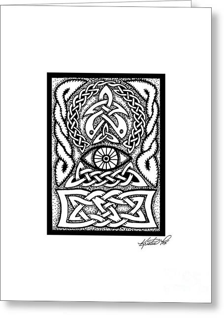 Miniature Abstract Drawings Greeting Cards - Celtic All Seeing Eye Greeting Card by Kristen Fox