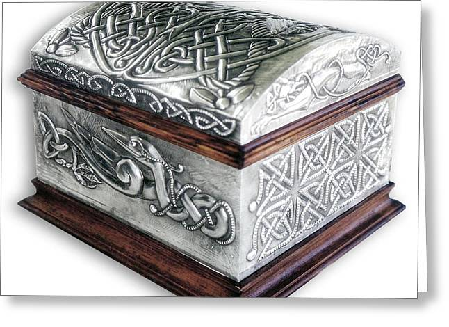 Dog Reliefs Greeting Cards - Celtic Chest 1 Greeting Card by Rodrigo Santos
