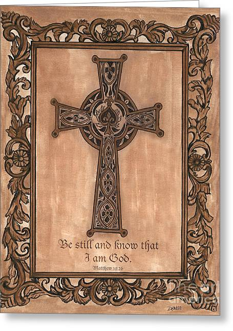 Pen Greeting Cards - Celtic Cross Greeting Card by Debbie DeWitt