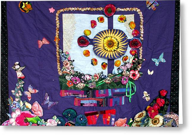 Wall Hanging Tapestries - Textiles Greeting Cards - Celtic Cross  Greeting Card by Sarah Hornsby