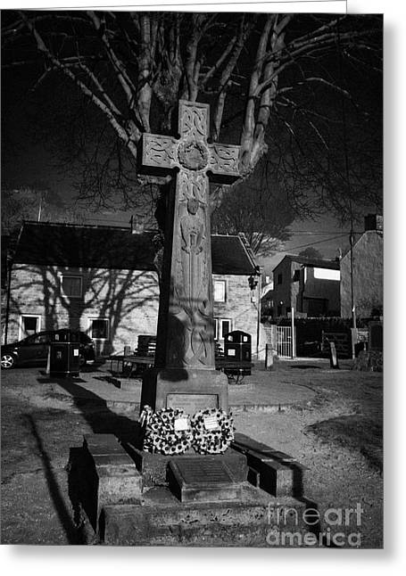 Castleton Greeting Cards - Celtic Cross War Memorial In Market Place In The Peak District Village Of Castleton Derbyshire Greeting Card by Joe Fox