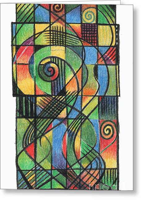 Crucifix Drawings Greeting Cards - Celtic Cruciform  Greeting Card by Andy  Mercer